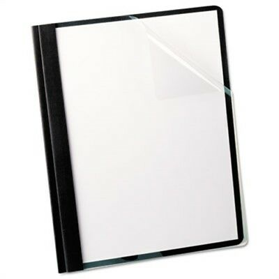 Linen Finish Clear Front Report Cover, 3 Fasteners, Letter,Black, 25/Box