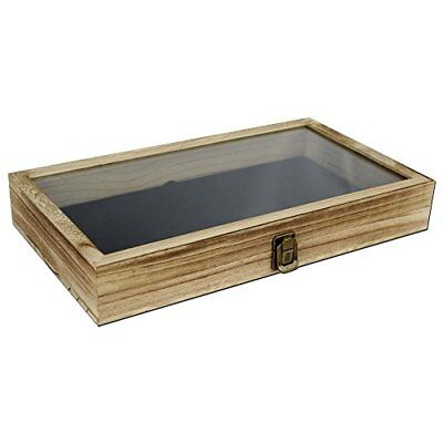 Jewelry Display Box Wood Tempered Glass Top Lid Black Pad Case Medals Awards Oak