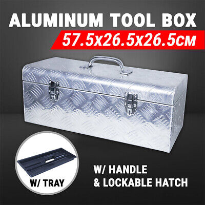 Aluminium Tool Box Truck Storage W/ Lockable Hatch & Tray & Handle Toolbox UTE