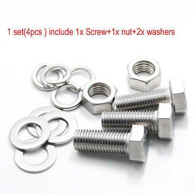 M12 M14 M16 Stainless Steel Hexagon Head Screws Bolt Hex Nut Flat Spring Washers