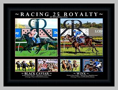 Black Caviar & Winx 'racing Royalty' Horse Racing Signed Photo Collage Framed
