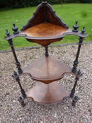 Antique Victorian Walnut Inlaid Corner 3 Tier Whatnot Shelving