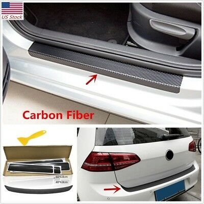 US SHIP 3D Carbon Fiber Look Car Door/Tail Trunk Anti Scratch Protector Stickers