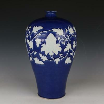 Ancient Antiques Chinese Sacrificial blue  Peony floral vase