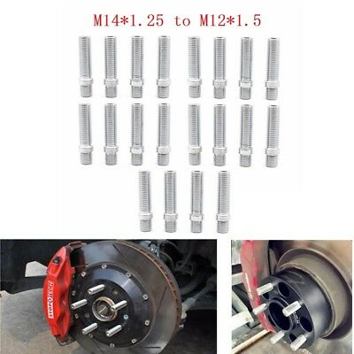 20PC 14x1.25 to 12x1.5 Extended Wheel Lug Bolts Nuts Screw Converision Adapter