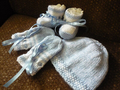 Baby Beanie, Booties & Mittens, Boy/Girl, Extra Soft Blue/White. Hand-knitted