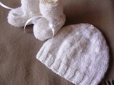 Beanie & Booties, Cute Cotton Wool Look! Hand-knitted by me. White. Cotton Comb.