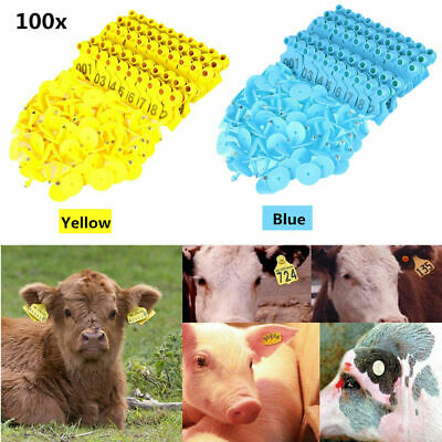 100x Ear Tag Lable Plastic Livestock Tag For Goat Sheep Pig Cow Number 001-100