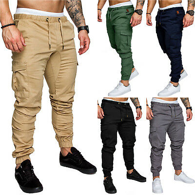 AU Men's Slim Urban Straight Leg Trousers Casual Pencil Jogger Cargo Chino Pants