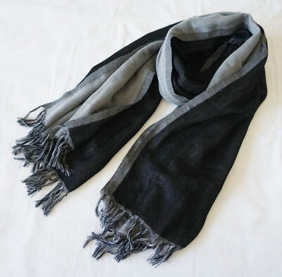 100% Pure Wool Pashmina Women Men Tassel Soft Long Scarves Wrap Shawl Grey Black