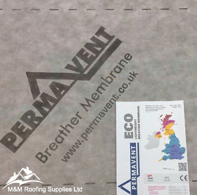 PERMAVENT ECO BREATHER MEMBRANE/BREATHABLE ROOFING FELT - WITH TAPE !! 1m X 50m