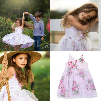 Cute Kids Baby Flower Girls Dress Lace Floral Tulle Party Pageant Dresses Skirts