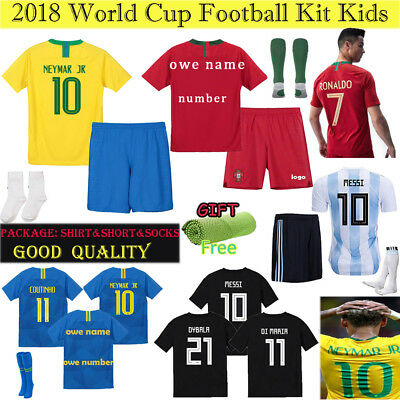 18 World Cup Short Football Soccer Home Away Kit For Kids Boys Suit With Socks