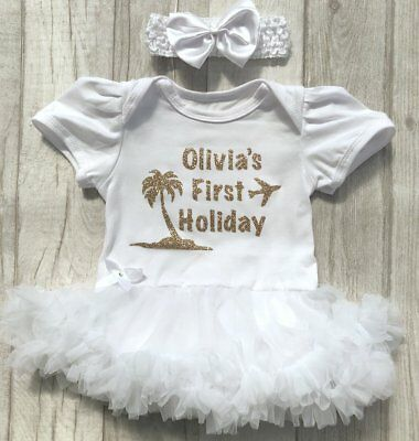PERSONALISED BABY GIRLS FIRST HOLIDAY Tutu Romper Dress NEWBORN LOVE Gift SUMMER