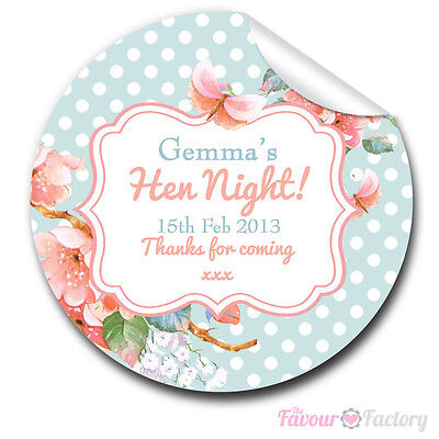 Personalised vintage florals hen night party bags labels glossy stickers