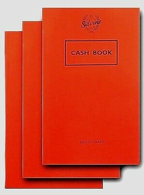 Pack of 3 Silvine Cash Book Note Pad Accounting Money Keeping British Made