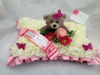 Artificial Silk Funeral Flower Pillow Teddy Bear Memorial Tribute Personalised