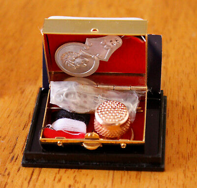 GOEBEL Hummel Porcelain Miniature Pill Box Sewing Kit NEW in Acrylic Case 1.5 in