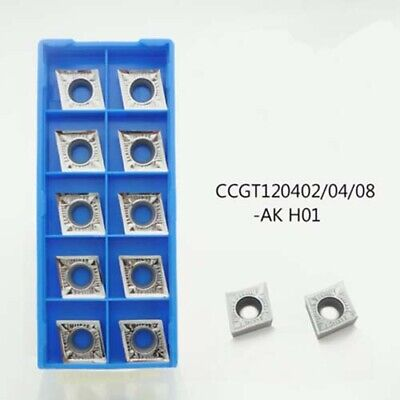 For Aluminum CCGT120404-AK H01 CCGT431 inserts Silver Lathe cutting tools 10pcs