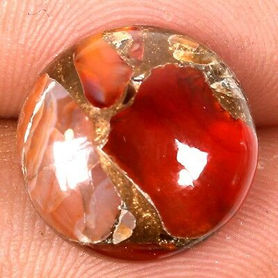 Round CARNELIAN COPPER MOHAVE 14x14 mm Cabochon Gemstone 7 Carats S-31184