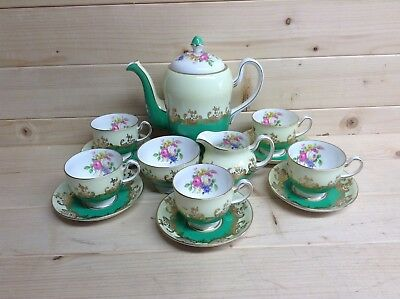 Collingwood China 13 Piece Green and Floral Coffee Set