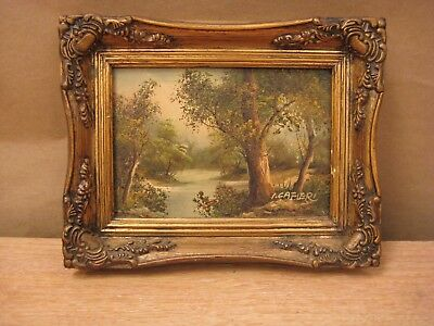 Art framed painting by I Cafieri lake trees forest