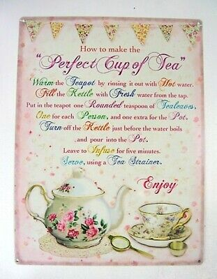 Kitchen Plaque Verse Perfect Cup Of Tea Pink White and Yellow Vintage style