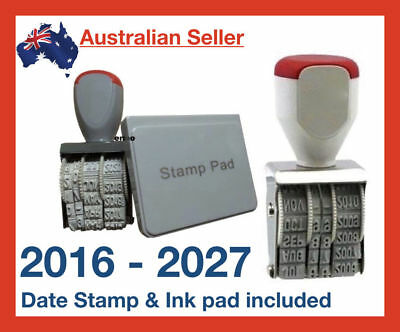 2016 - 2027 Rubber Manual Set Date Stamp & Black Ink Pad Business Office School