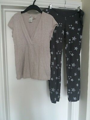 H&M pink / grey maternity pyjamas size small  over bump trousers