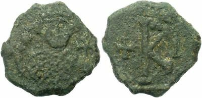 FORVM Byzantine Half Follis of Leontius From Syracuse 2nd Known Fine