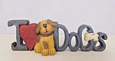 I Love Dogs - New resin block with heart, dog and bone -by Blossom Bucket #28080