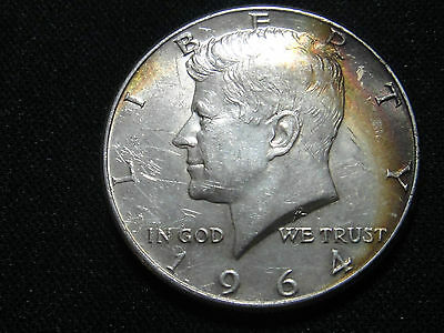 1964 P  Au Starting To Tone  Almost Uncirculated Kennedy Silver Half Dollar