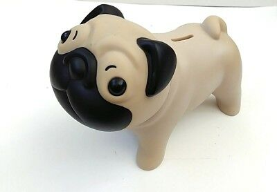 "Tapas Pug Dog Coin Bank Tan Black Plastic Bull 8.5""x6"""
