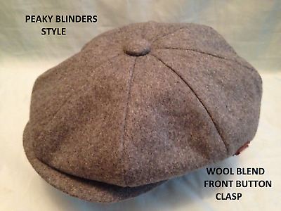 Peaky Blinders Grey 1920'S 30'S Cap Peaked Peak Retro Newsboy Baker Boy