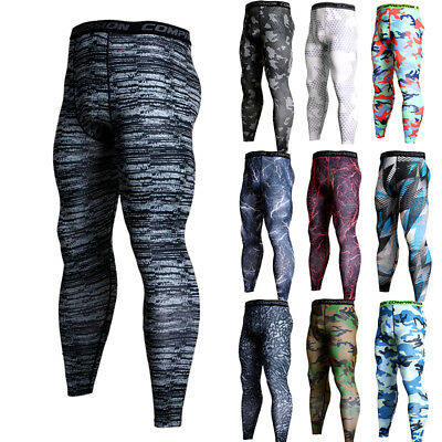 bc7f39e202fb4 Men's Compression Pants Running Basketball Gym Long Tights Wicking Camo Dri  fit
