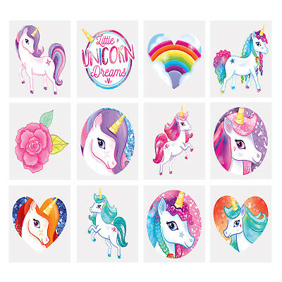 Kids Unicorn Tattoos Childrens Party Bag Fillers Boys Girls Temporary Tattoo