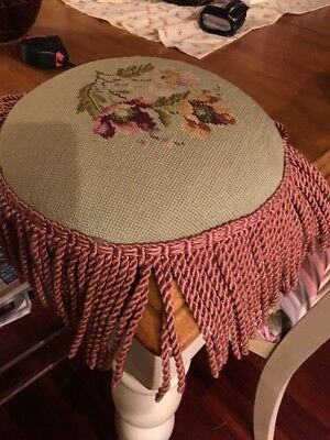 Vintage Needlepoint Stool Cover
