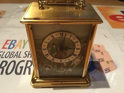 Vintage Hamilton Heavy Brass Mantle Clock Electronic Swiss made
