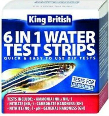 KING BRITISH 6 IN 1 WATER TEST STRIPS AQUARIUM & PONDS AMMONIA NITRATE pH GH KH