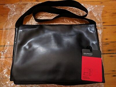 BRAND NEW MOLESKINE Classic Genuine Leather Bag Black Business Brief ... 6110035e1b0de
