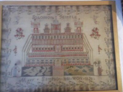 "1829 EARLY FRAMED SAMPLER OF SOLOMONS TEMPLE by MARY SIMPSON HER WORK 23"" by 18"""