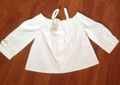 New With Tag Girls River Island White Cotton Summer Top 9-12 Months