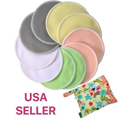 Premium Washable Organic Bamboo Nursing Pads 10 pack With Carry Bag