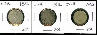 Chile - 1880 1892 1908 - 20 Centavos - 3 Coin Lot