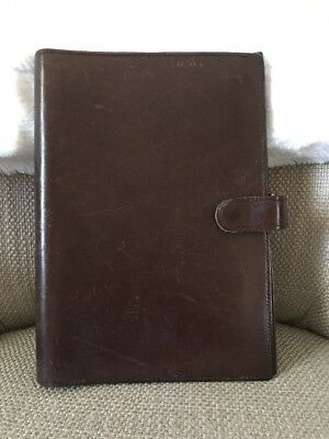 Coach Vintage Brown Snap All Leather Agenda Cover Organizer Planner