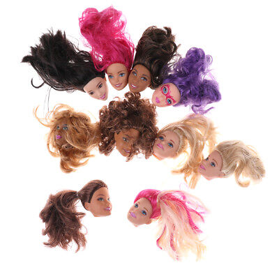 1/6 Long Hair Doll Head for Barbie Doll Girls DIY Gift Doll Accessories LY
