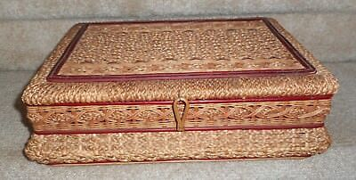 """Lg. Antique Sewing Basket Made In Germany, 10.5"""" Deep X 4.75"""" High X 14.5"""" Wide"""