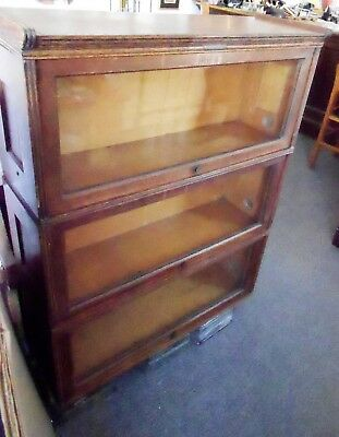 3 Oak Stacking Barrister Bookcases Retractable Glass Yawman & Erbe Rochester NY