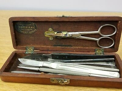 ANTIQUE SURGICAL INSTRUMENT KIT- SCALPELS, SHARP & SMITH of CHICAGO