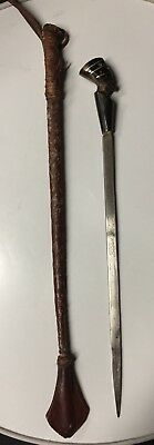 Vintage Leather Wrapped Riding Crop Carved Horn Pharaoh's Head Dagger/Sword